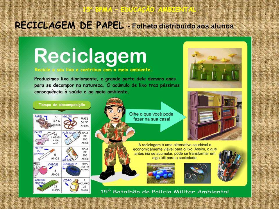15° BPMA – EDUCAÇÃO AMBIENTAL RECICLAGEM DE PAPEL - Folheto distribuído aos alunos