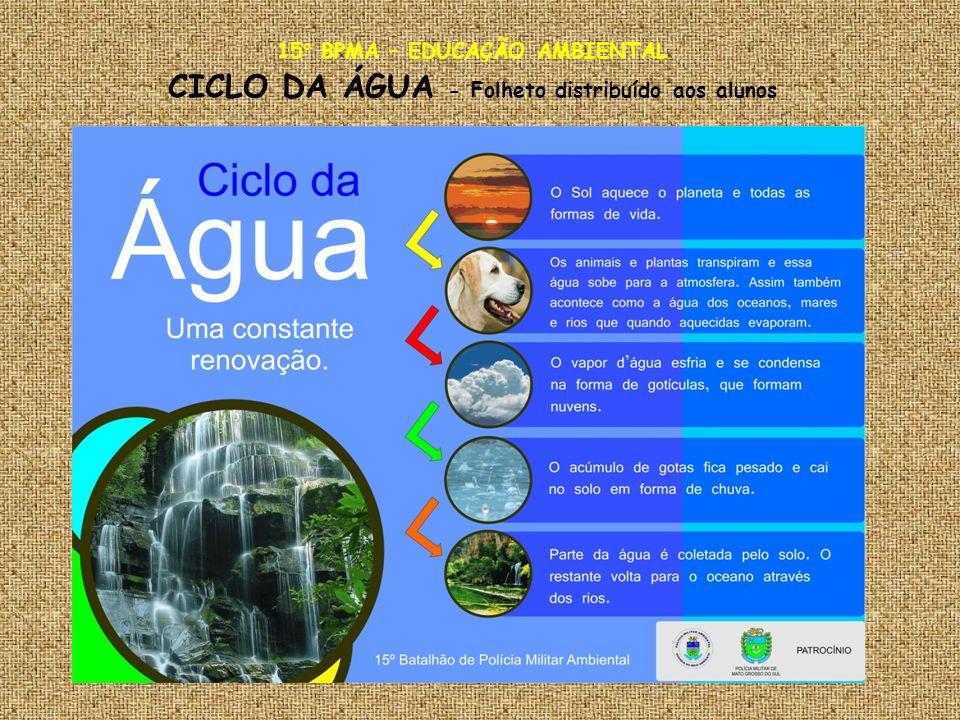 15° BPMA – EDUCAÇÃO AMBIENTAL CICLO DA ÁGUA - Folheto distribuído aos alunos