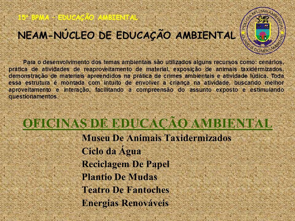 OFICINAS DE EDUCAÇÃO AMBIENTAL Museu De Animais Taxidermizados Ciclo da Água Reciclagem De Papel Plantio De Mudas Teatro De Fantoches Energias Renováv