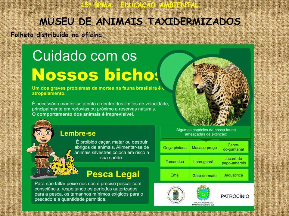15° BPMA – EDUCAÇÃO AMBIENTAL MUSEU DE ANIMAIS TAXIDERMIZADOS Folheto distribuído na oficina