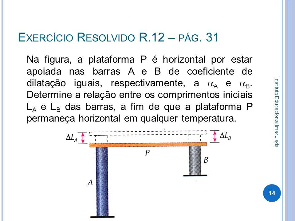 E XERCÍCIO R ESOLVIDO R.12 – PÁG. 31 Na figura, a plataforma P é horizontal por estar apoiada nas barras A e B de coeficiente de dilatação iguais, res