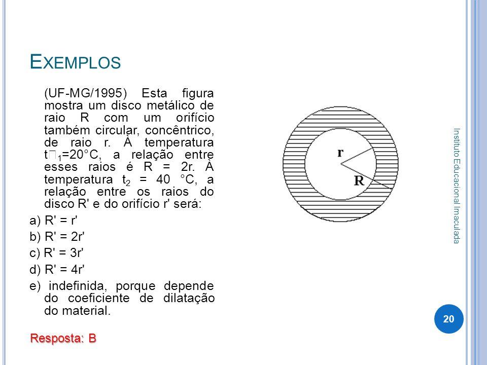 E XEMPLOS Instituto Educacional Imaculada 20 (UF-MG/1995) Esta figura mostra um disco metálico de raio R com um orifício também circular, concêntrico,