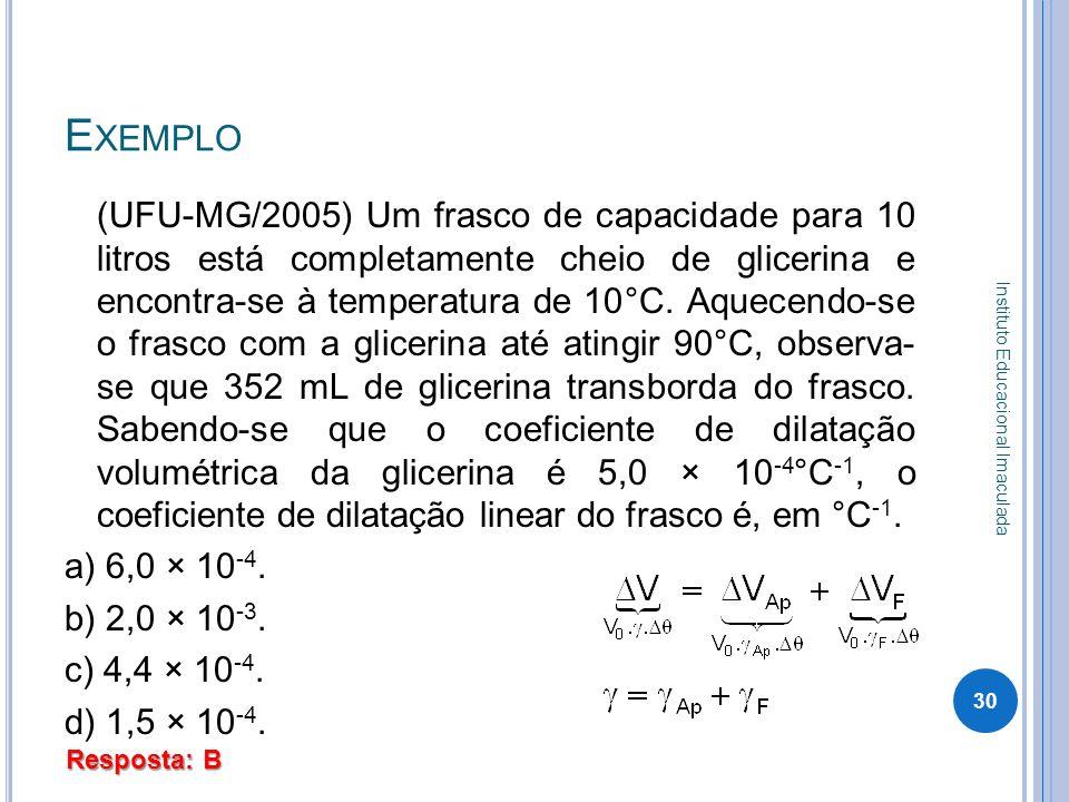 E XEMPLO (UFU-MG/2005) Um frasco de capacidade para 10 litros está completamente cheio de glicerina e encontra-se à temperatura de 10°C. Aquecendo-se