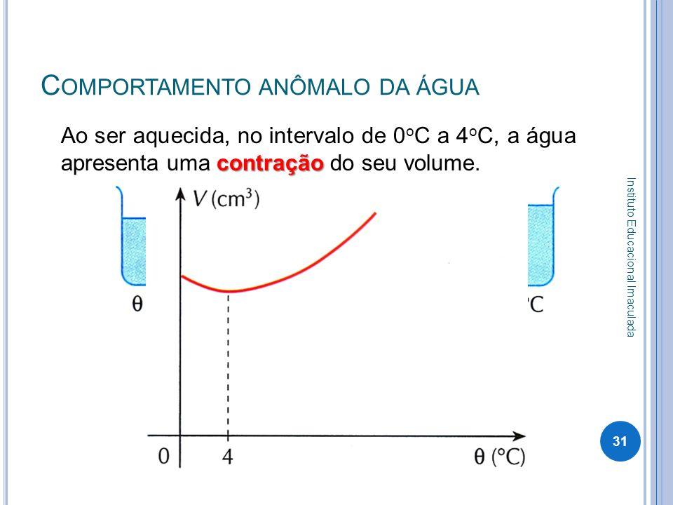 C OMPORTAMENTO ANÔMALO DA ÁGUA contração Ao ser aquecida, no intervalo de 0 o C a 4 o C, a água apresenta uma contração do seu volume. 31 Instituto Ed