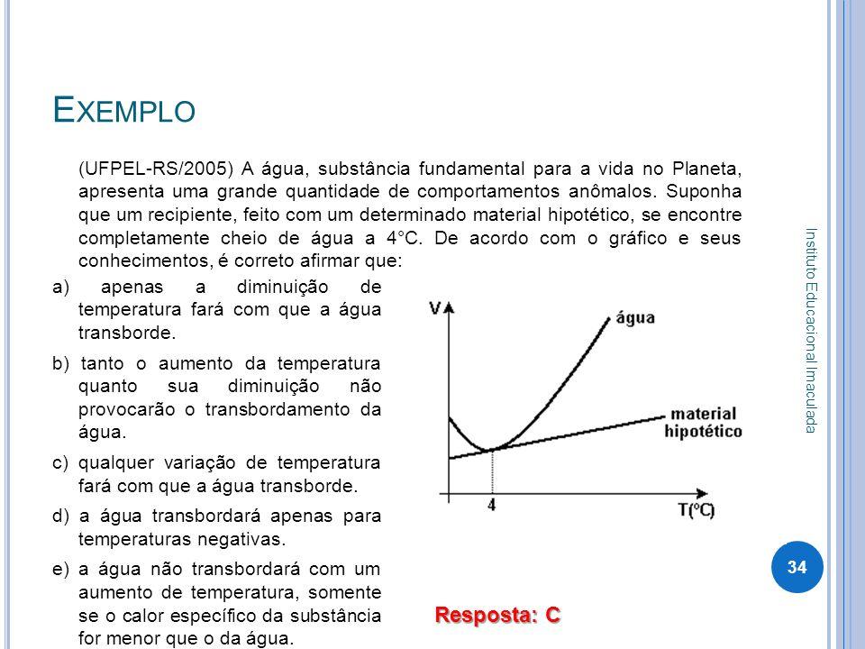 E XEMPLO (UFPEL-RS/2005) A água, substância fundamental para a vida no Planeta, apresenta uma grande quantidade de comportamentos anômalos. Suponha qu