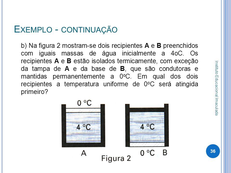 E XEMPLO - CONTINUAÇÃO b) Na figura 2 mostram-se dois recipientes A e B preenchidos com iguais massas de água inicialmente a 4oC. Os recipientes A e B