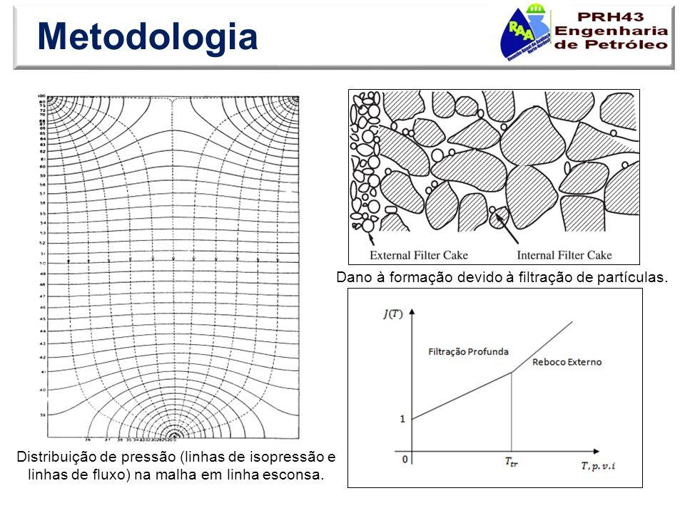 Metodologia Distribuição de pressão (linhas de isopressão e linhas de fluxo) na malha em linha esconsa. Dano à formação devido à filtração de partícul