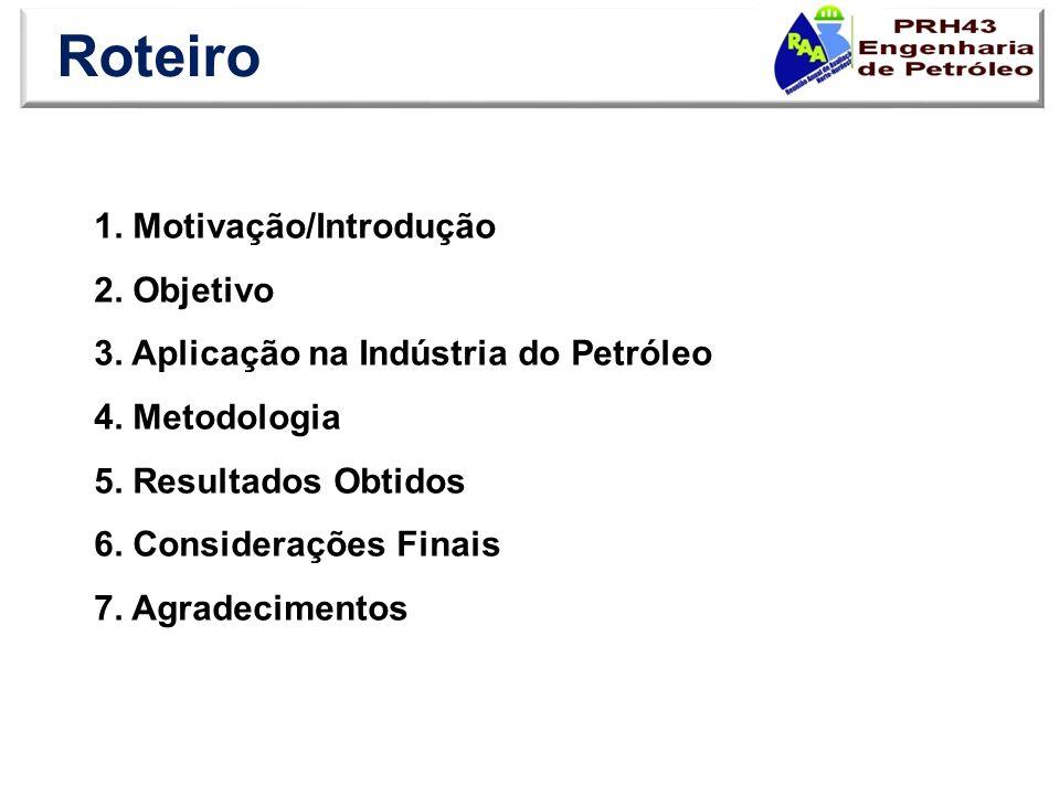 Roteiro 1. Motivação/Introdução 2. Objetivo 3. Aplicação na Indústria do Petróleo 4. Metodologia 5. Resultados Obtidos 6. Considerações Finais 7. Agra
