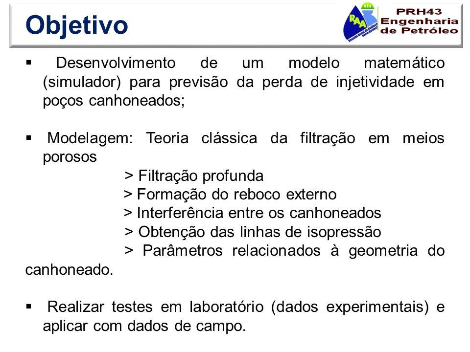 Objetivo Desenvolvimento de um modelo matemático (simulador) para previsão da perda de injetividade em poços canhoneados; Modelagem: Teoria clássica d