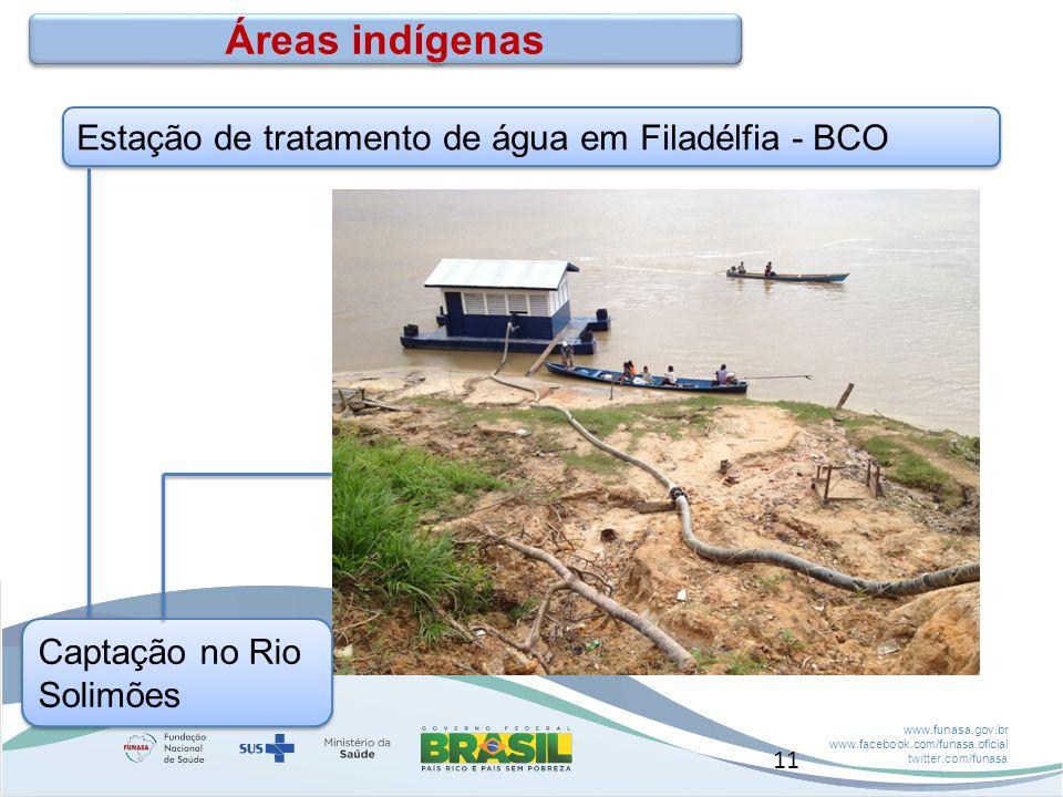 www.funasa.gov.br www.facebook.com/funasa.oficial twitter.com/funasa Estação de tratamento de água em Filadélfia - BCO Áreas indígenas Captação no Rio Solimões 11