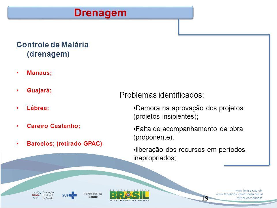 www.funasa.gov.br www.facebook.com/funasa.oficial twitter.com/funasa Drenagem Controle de Malária (drenagem) Manaus; Guajará; Lábrea; Careiro Castanho; Barcelos; (retirado GPAC) Problemas identificados: Demora na aprovação dos projetos (projetos insipientes); Falta de acompanhamento da obra (proponente); liberação dos recursos em períodos inapropriados; 19