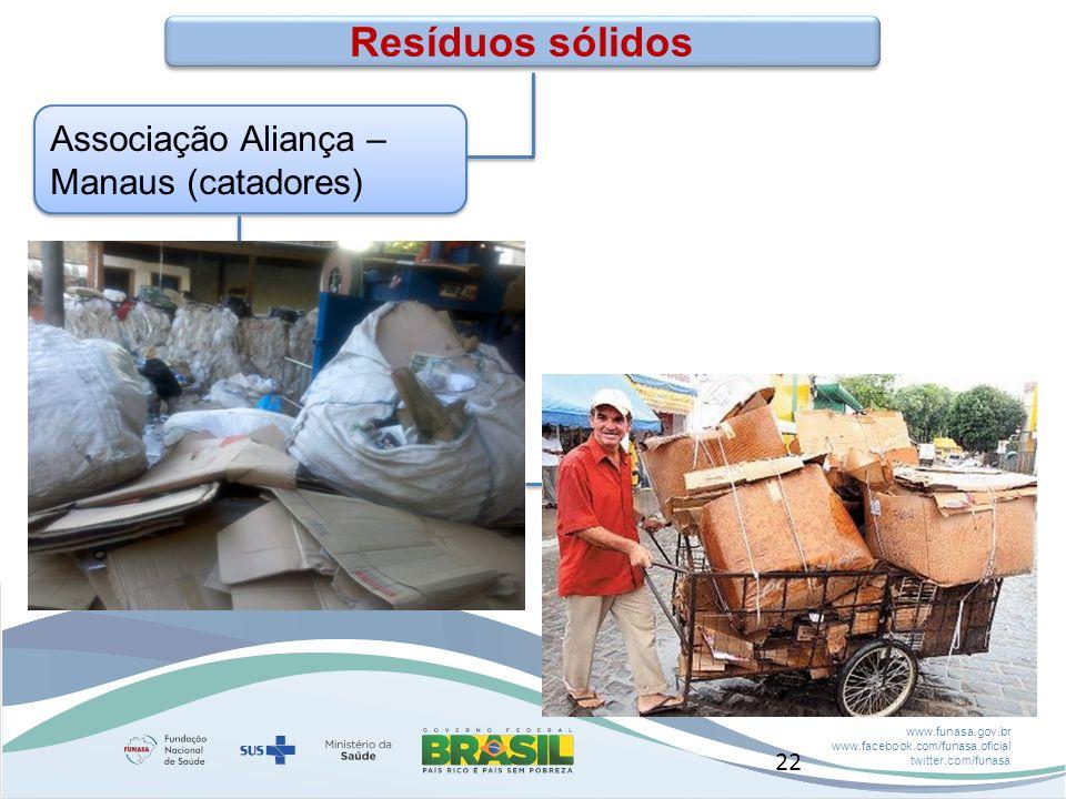 www.funasa.gov.br www.facebook.com/funasa.oficial twitter.com/funasa Associação Aliança – Manaus (catadores) Resíduos sólidos 22