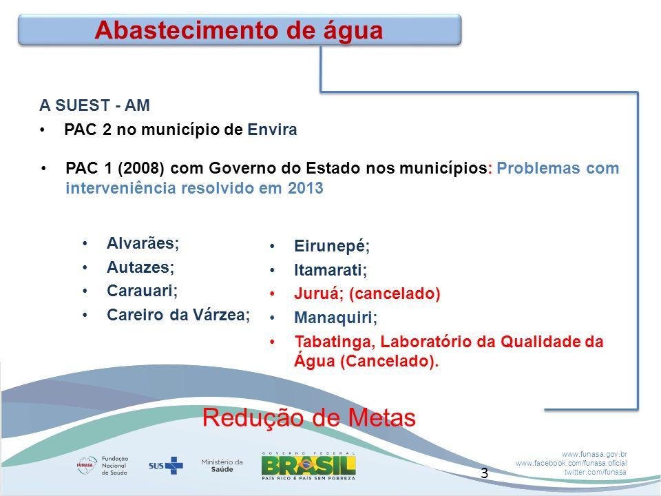 www.funasa.gov.br www.facebook.com/funasa.oficial twitter.com/funasa CASAI – Manaus km 25 Áreas indígenas Estágio atual 14