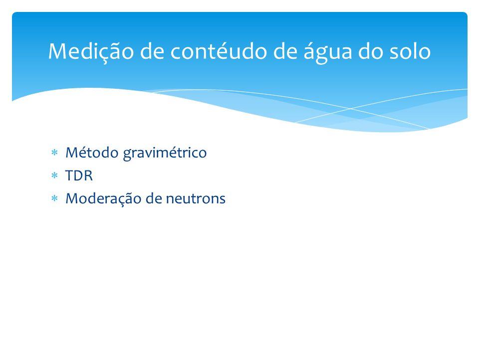 Método gravimétrico TDR Moderação de neutrons Medição de contéudo de água do solo