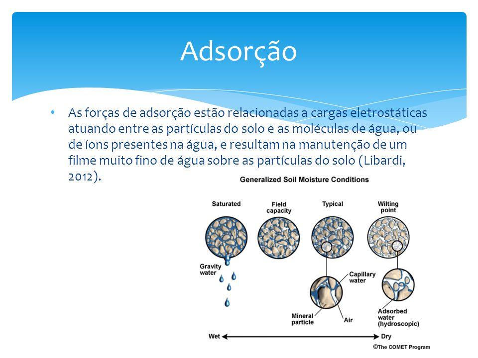 As forças de adsorção estão relacionadas a cargas eletrostáticas atuando entre as partículas do solo e as moléculas de água, ou de íons presentes na á