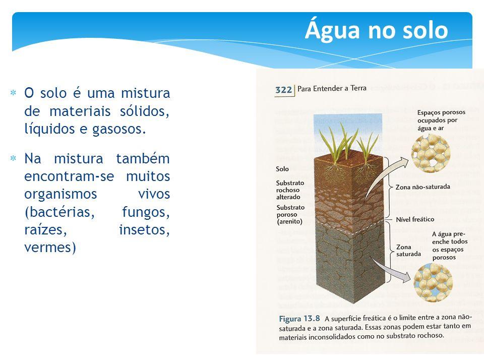 O solo é uma mistura de materiais sólidos, líquidos e gasosos. Na mistura também encontram-se muitos organismos vivos (bactérias, fungos, raízes, inse