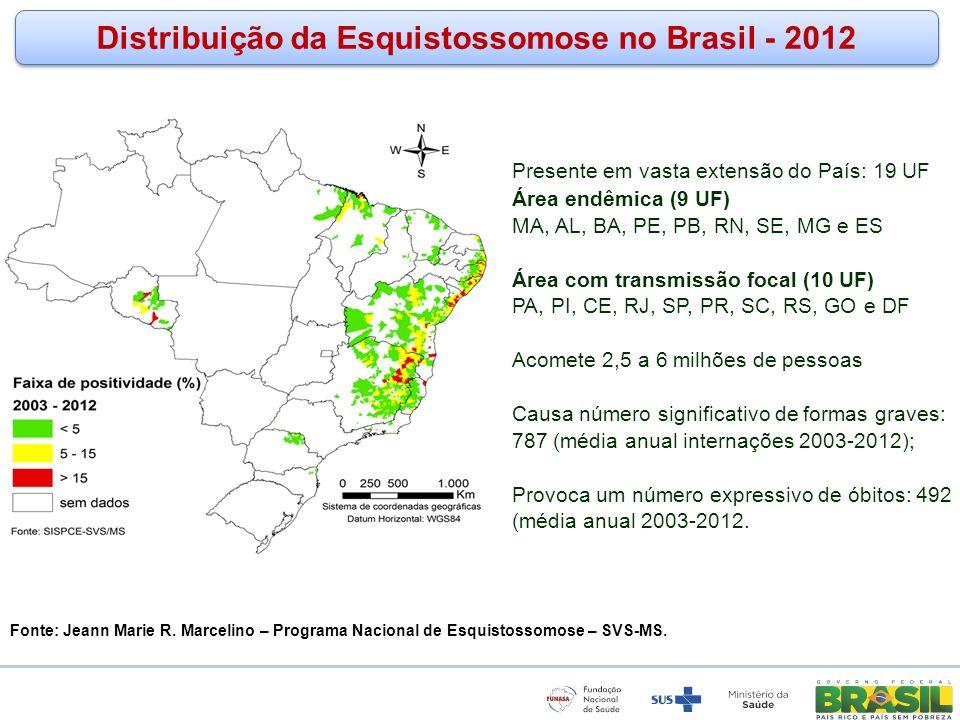 www.funasa.gov.br www.facebook.com/funasa.oficial twitter.com/funasa Distribuição da Esquistossomose no Brasil - 2012 Presente em vasta extensão do Pa