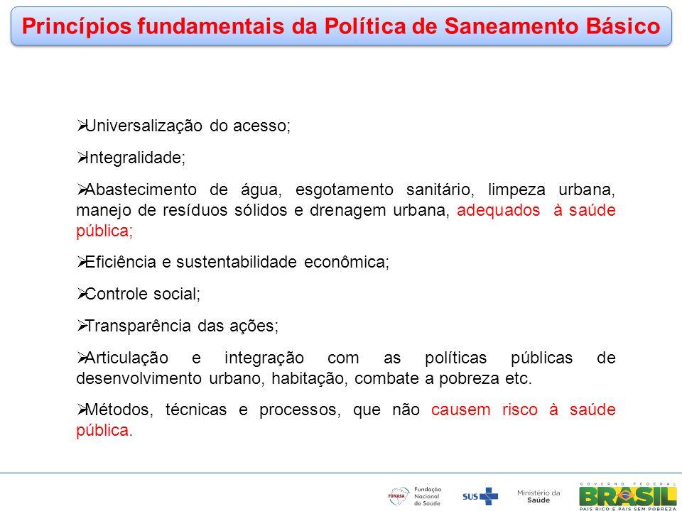 www.funasa.gov.br www.facebook.com/funasa.oficial twitter.com/funasa Princípios fundamentais da Política de Saneamento Básico Universalização do acess