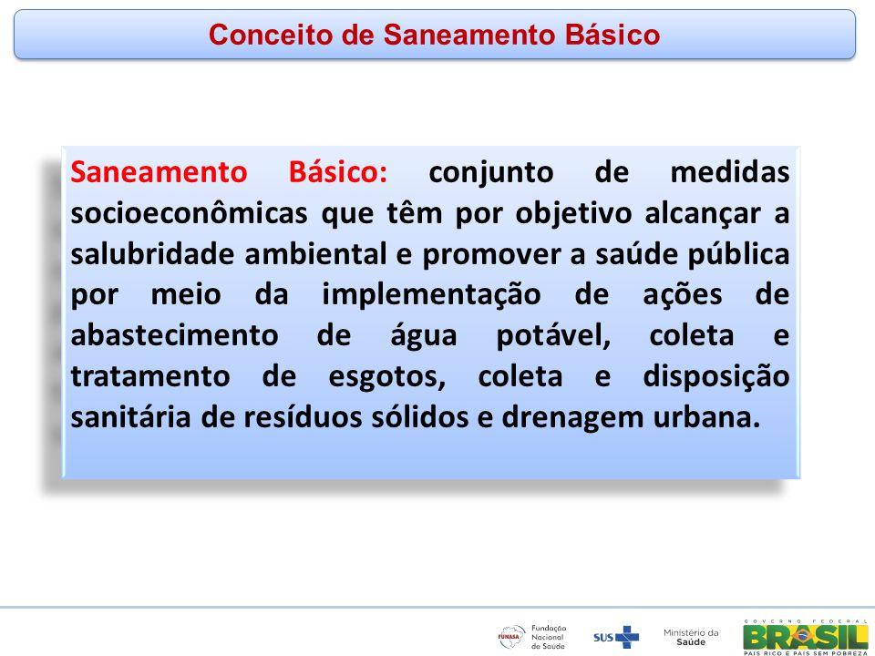 www.funasa.gov.br www.facebook.com/funasa.oficial twitter.com/funasa Conceito de Saneamento Básico Saneamento Básico: conjunto de medidas socioeconômi