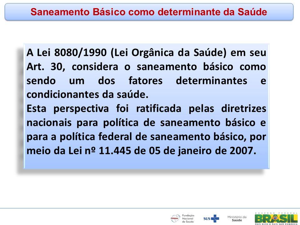 www.funasa.gov.br www.facebook.com/funasa.oficial twitter.com/funasa Saneamento Básico como determinante da Saúde A Lei 8080/1990 (Lei Orgânica da Saú