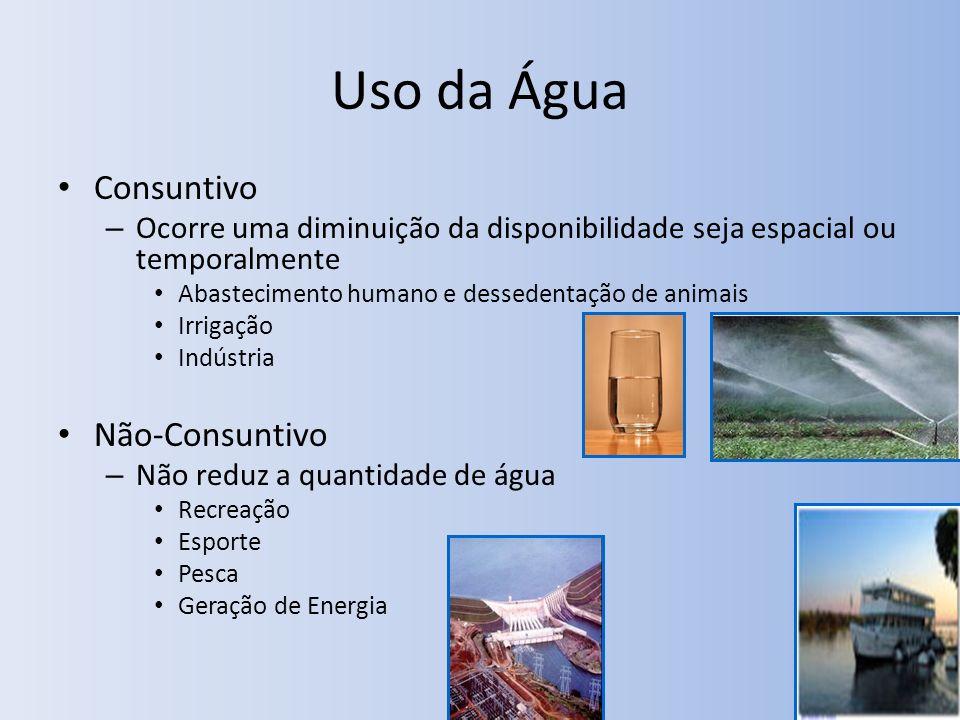Uso da Água Consuntivo – Ocorre uma diminuição da disponibilidade seja espacial ou temporalmente Abastecimento humano e dessedentação de animais Irrig