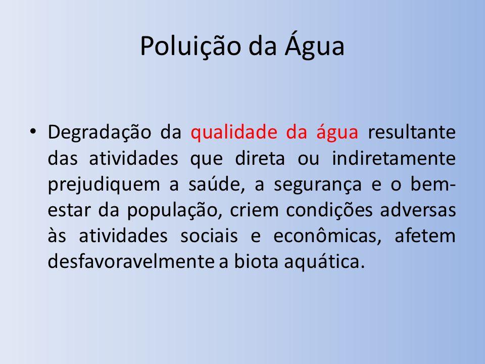 Poluição da Água Degradação da qualidade da água resultante das atividades que direta ou indiretamente prejudiquem a saúde, a segurança e o bem- estar