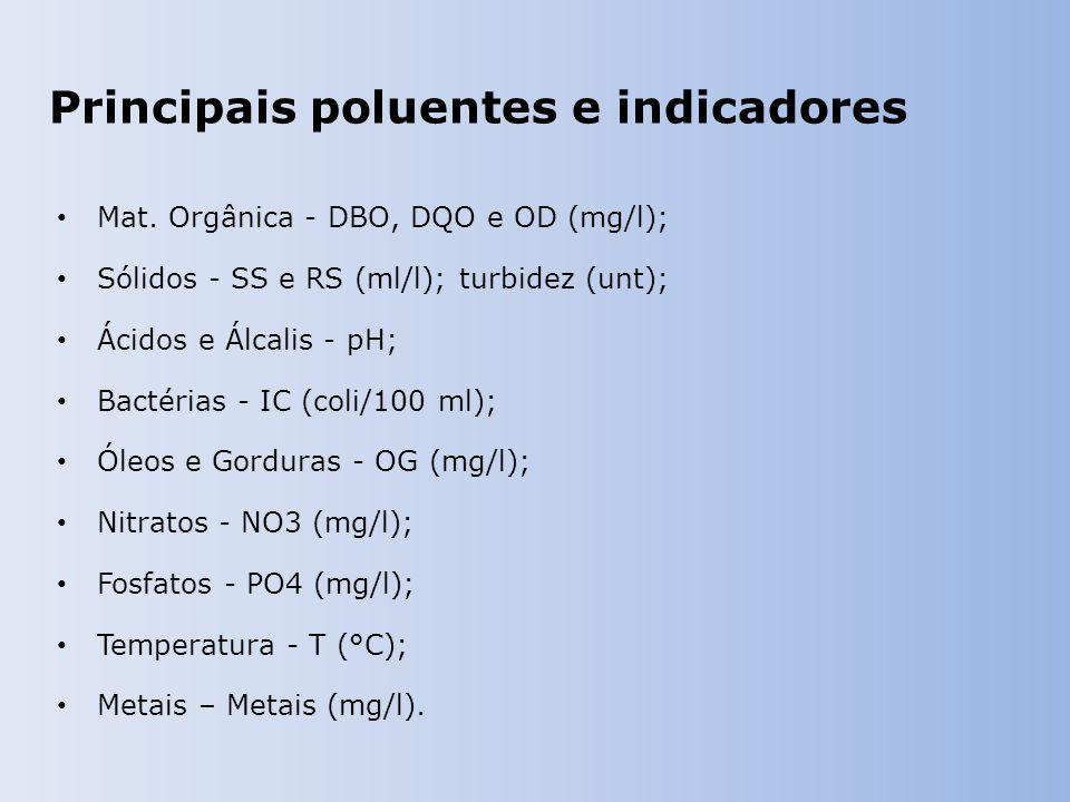 Principais poluentes e indicadores Mat.