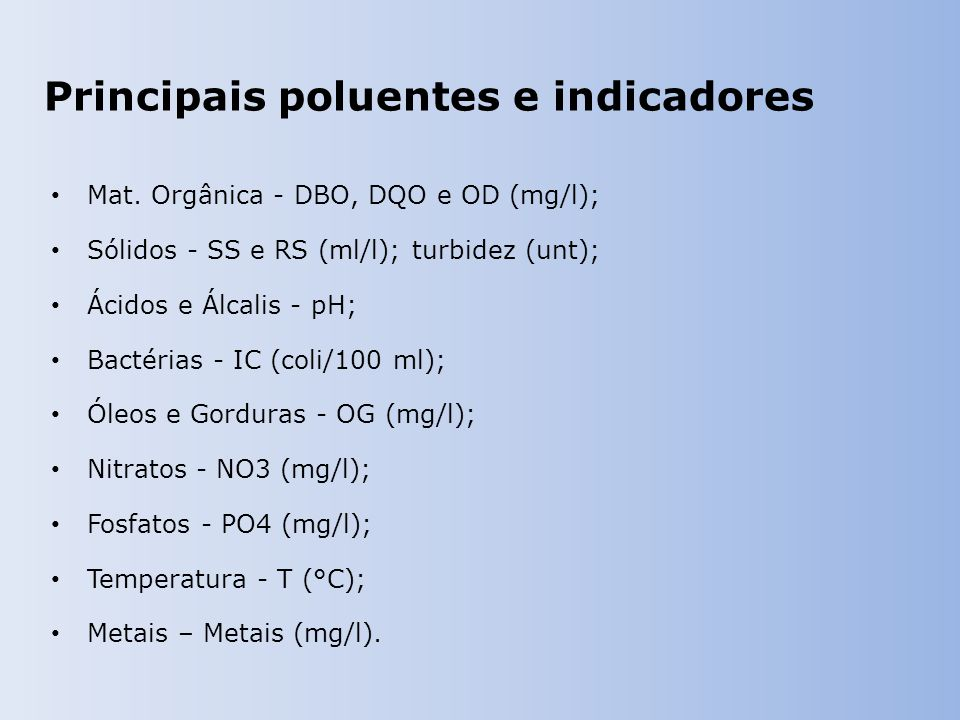 Principais poluentes e indicadores Mat. Orgânica - DBO, DQO e OD (mg/l); Sólidos - SS e RS (ml/l); turbidez (unt); Ácidos e Álcalis - pH; Bactérias -