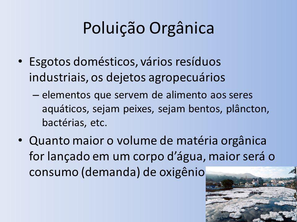 Poluição Orgânica Esgotos domésticos, vários resíduos industriais, os dejetos agropecuários – elementos que servem de alimento aos seres aquáticos, sejam peixes, sejam bentos, plâncton, bactérias, etc.