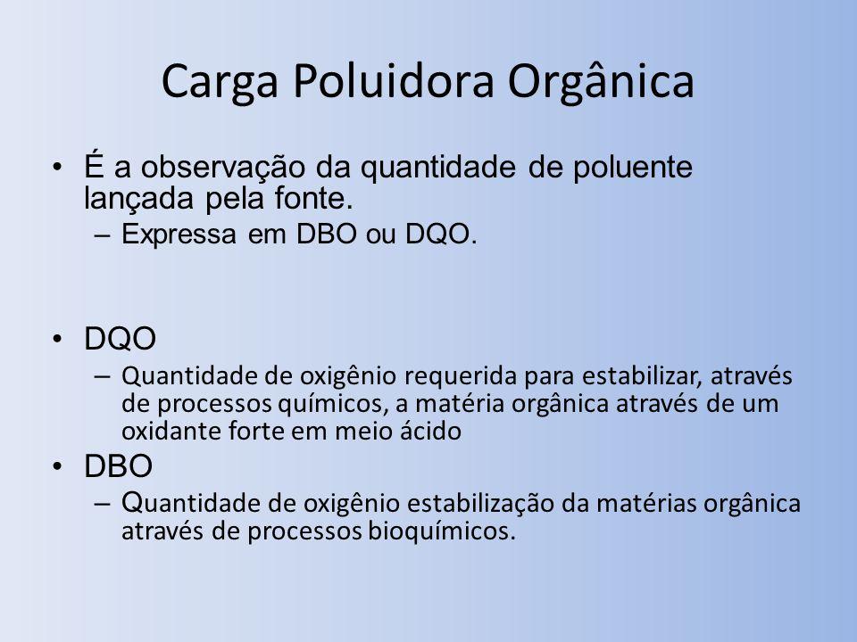Carga Poluidora Orgânica É a observação da quantidade de poluente lançada pela fonte. –Expressa em DBO ou DQO. DQO – Quantidade de oxigênio requerida