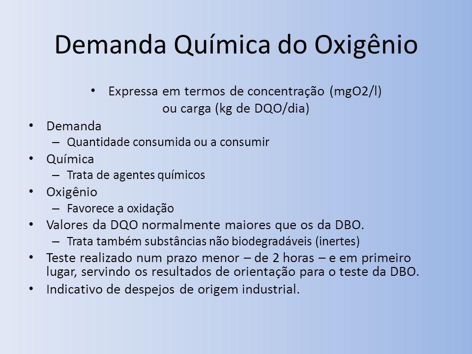 Demanda Química do Oxigênio Expressa em termos de concentração (mgO2/l) ou carga (kg de DQO/dia) Demanda – Quantidade consumida ou a consumir Química – Trata de agentes químicos Oxigênio – Favorece a oxidação Valores da DQO normalmente maiores que os da DBO.