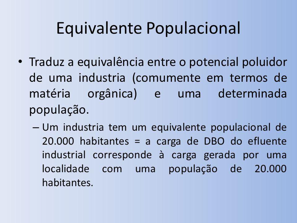 Equivalente Populacional Traduz a equivalência entre o potencial poluidor de uma industria (comumente em termos de matéria orgânica) e uma determinada população.