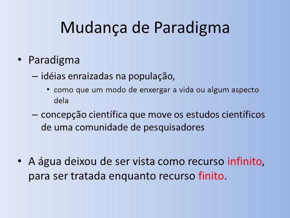 Mudança de Paradigma Paradigma – idéias enraizadas na população, como que um modo de enxergar a vida ou algum aspecto dela – concepção científica que move os estudos científicos de uma comunidade de pesquisadores A água deixou de ser vista como recurso infinito, para ser tratada enquanto recurso finito.