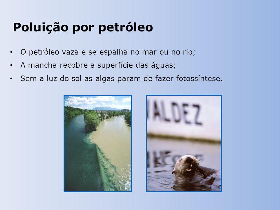 Poluição por petróleo O petróleo vaza e se espalha no mar ou no rio; A mancha recobre a superfície das águas; Sem a luz do sol as algas param de fazer fotossíntese.