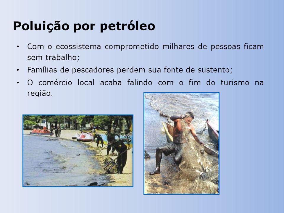 Poluição por petróleo Com o ecossistema comprometido milhares de pessoas ficam sem trabalho; Famílias de pescadores perdem sua fonte de sustento; O comércio local acaba falindo com o fim do turismo na região.