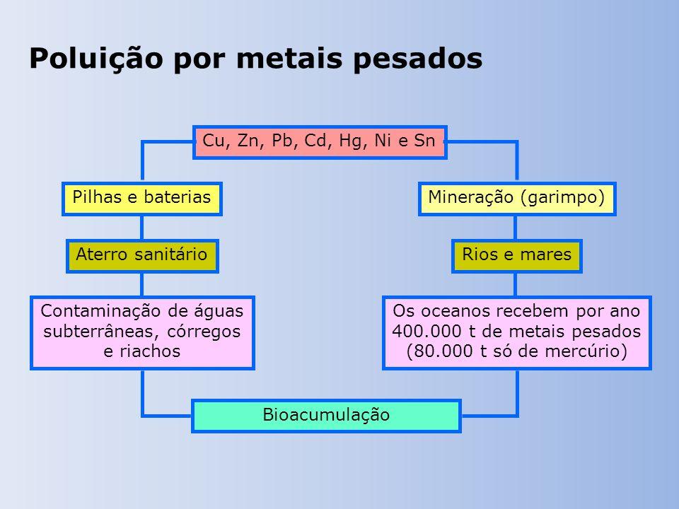 Cu, Zn, Pb, Cd, Hg, Ni e Sn Bioacumulação Mineração (garimpo)Pilhas e baterias Rios e maresAterro sanitário Os oceanos recebem por ano 400.000 t de metais pesados (80.000 t só de mercúrio) Contaminação de águas subterrâneas, córregos e riachos