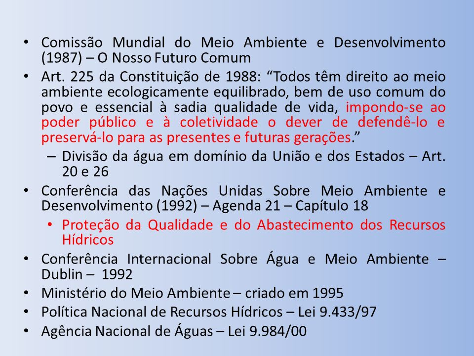 Comissão Mundial do Meio Ambiente e Desenvolvimento (1987) – O Nosso Futuro Comum Art. 225 da Constituição de 1988: Todos têm direito ao meio ambiente