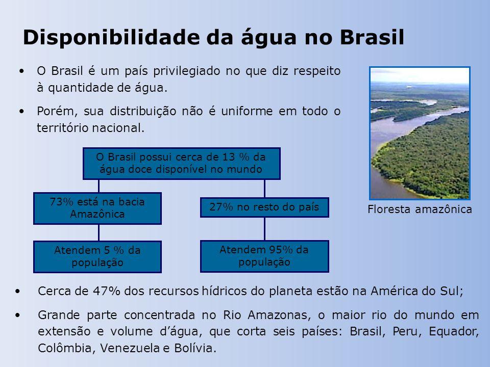 Disponibilidade da água no Brasil O Brasil é um país privilegiado no que diz respeito à quantidade de água.