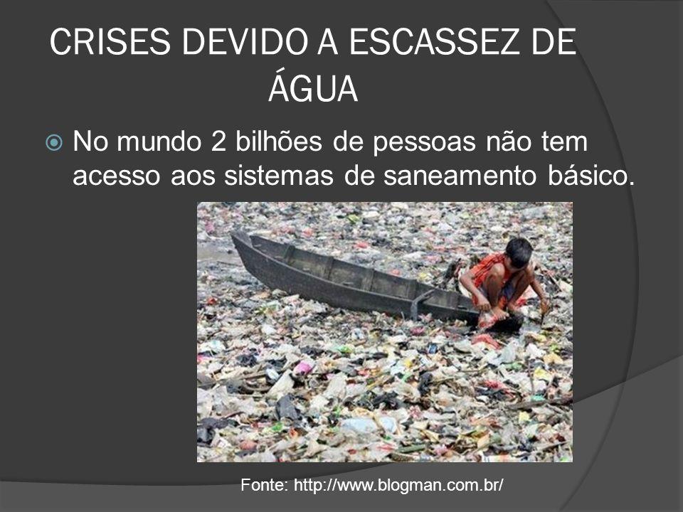 CRISES DEVIDO A ESCASSEZ DE ÁGUA No mundo 2 bilhões de pessoas não tem acesso aos sistemas de saneamento básico. Fonte: http://www.blogman.com.br/