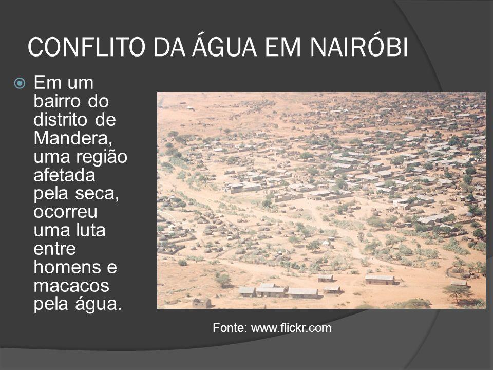 CONFLITO DA ÁGUA EM NAIRÓBI Em um bairro do distrito de Mandera, uma região afetada pela seca, ocorreu uma luta entre homens e macacos pela água. Font
