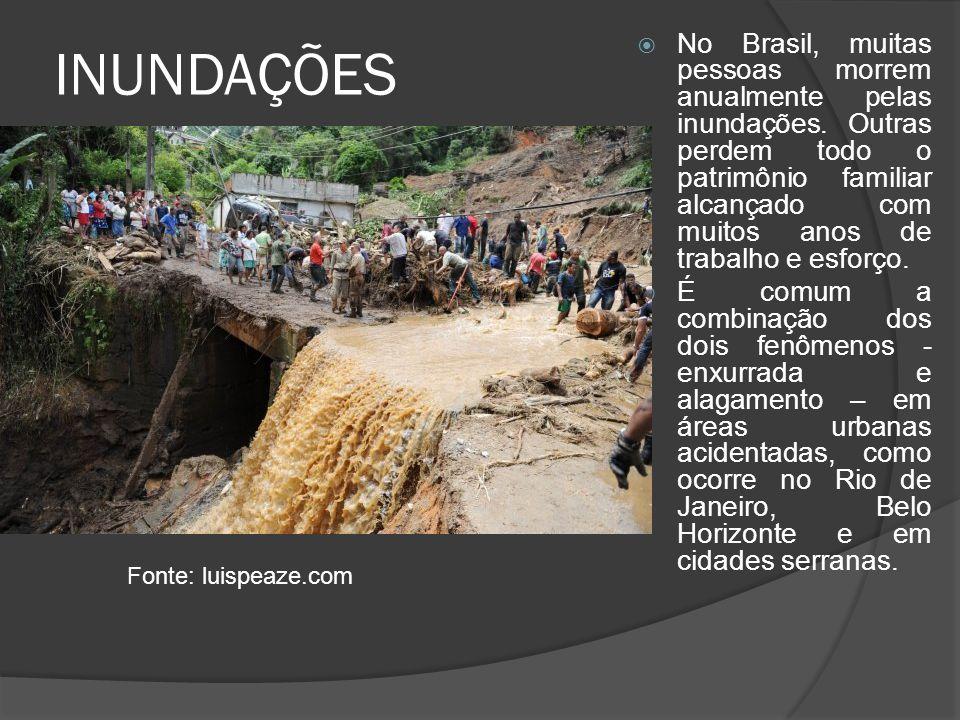 INUNDAÇÕES No Brasil, muitas pessoas morrem anualmente pelas inundações. Outras perdem todo o patrimônio familiar alcançado com muitos anos de trabalh