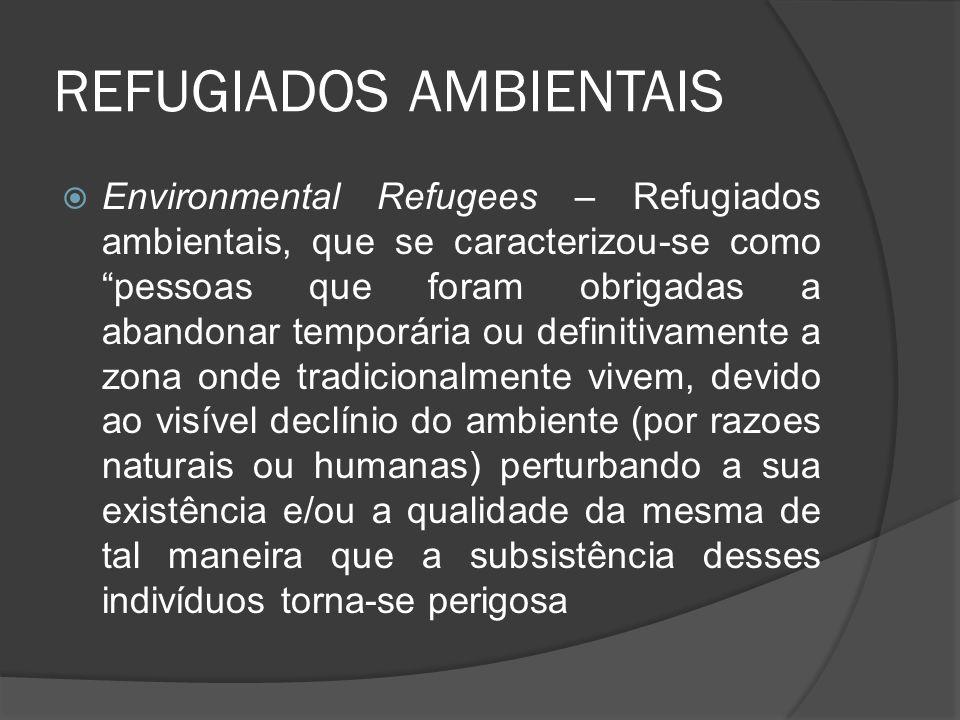 REFUGIADOS AMBIENTAIS Environmental Refugees – Refugiados ambientais, que se caracterizou-se como pessoas que foram obrigadas a abandonar temporária o