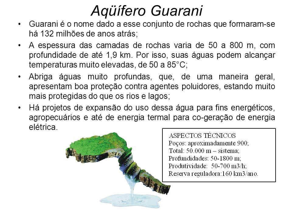 Guarani é o nome dado a esse conjunto de rochas que formaram-se há 132 milhões de anos atrás; A espessura das camadas de rochas varia de 50 a 800 m, com profundidade de até 1,9 km.