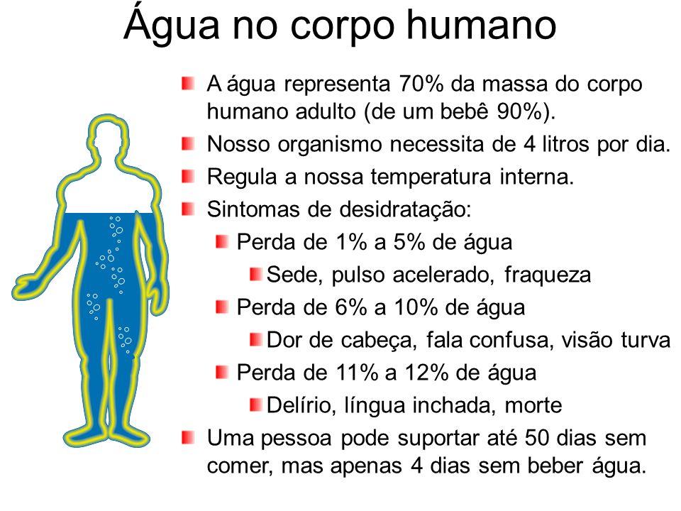 Água no corpo humano A água representa 70% da massa do corpo humano adulto (de um bebê 90%). Nosso organismo necessita de 4 litros por dia. Regula a n