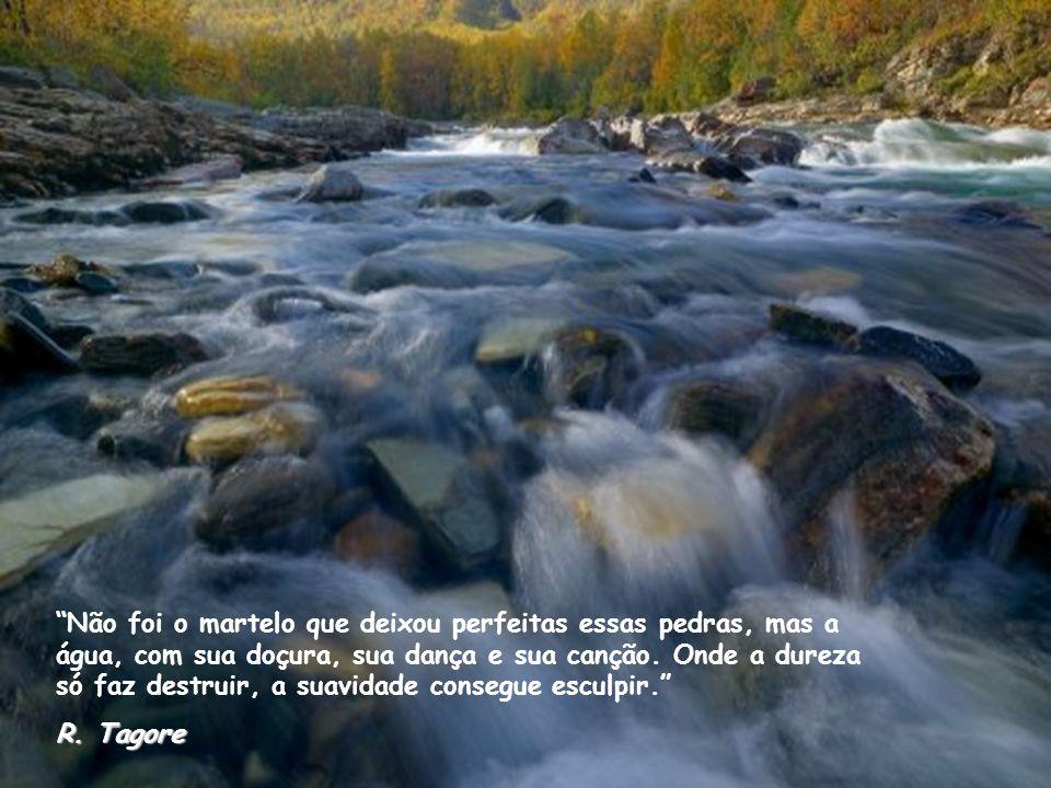 Não foi o martelo que deixou perfeitas essas pedras, mas a água, com sua doçura, sua dança e sua canção.