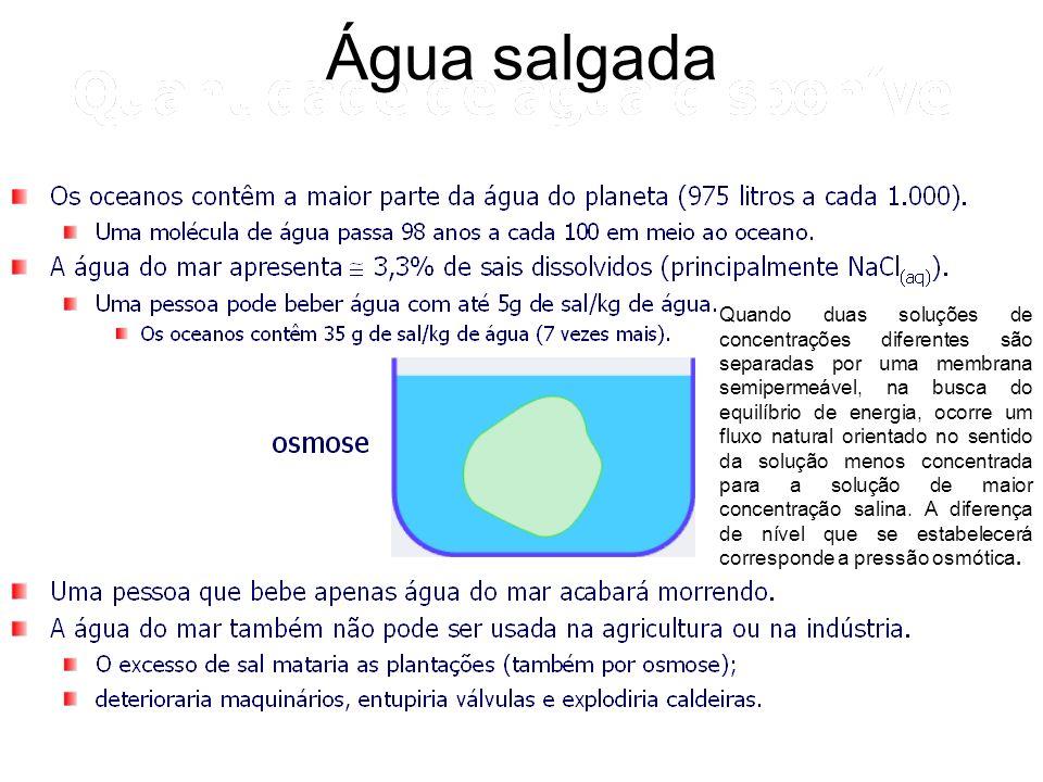 Água salgada Quando duas soluções de concentrações diferentes são separadas por uma membrana semipermeável, na busca do equilíbrio de energia, ocorre um fluxo natural orientado no sentido da solução menos concentrada para a solução de maior concentração salina.