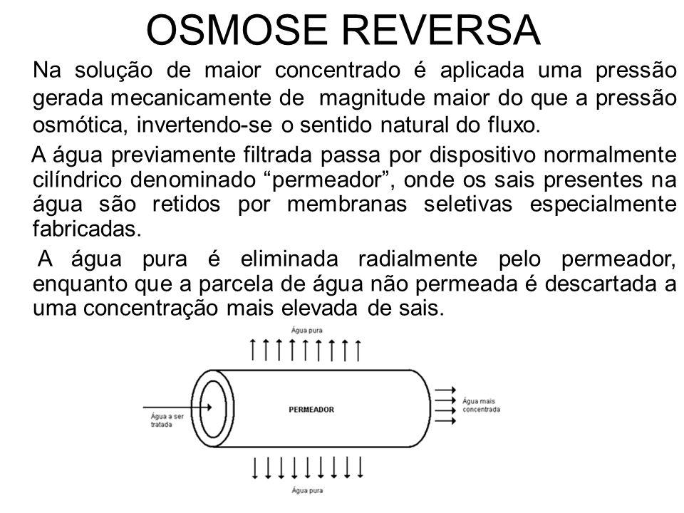 OSMOSE REVERSA Na solução de maior concentrado é aplicada uma pressão gerada mecanicamente de magnitude maior do que a pressão osmótica, invertendo-se o sentido natural do fluxo.