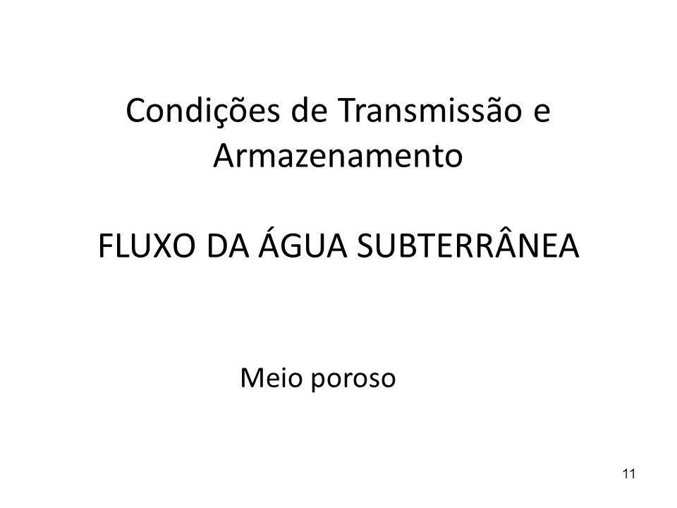 11 Condições de Transmissão e Armazenamento FLUXO DA ÁGUA SUBTERRÂNEA Meio poroso