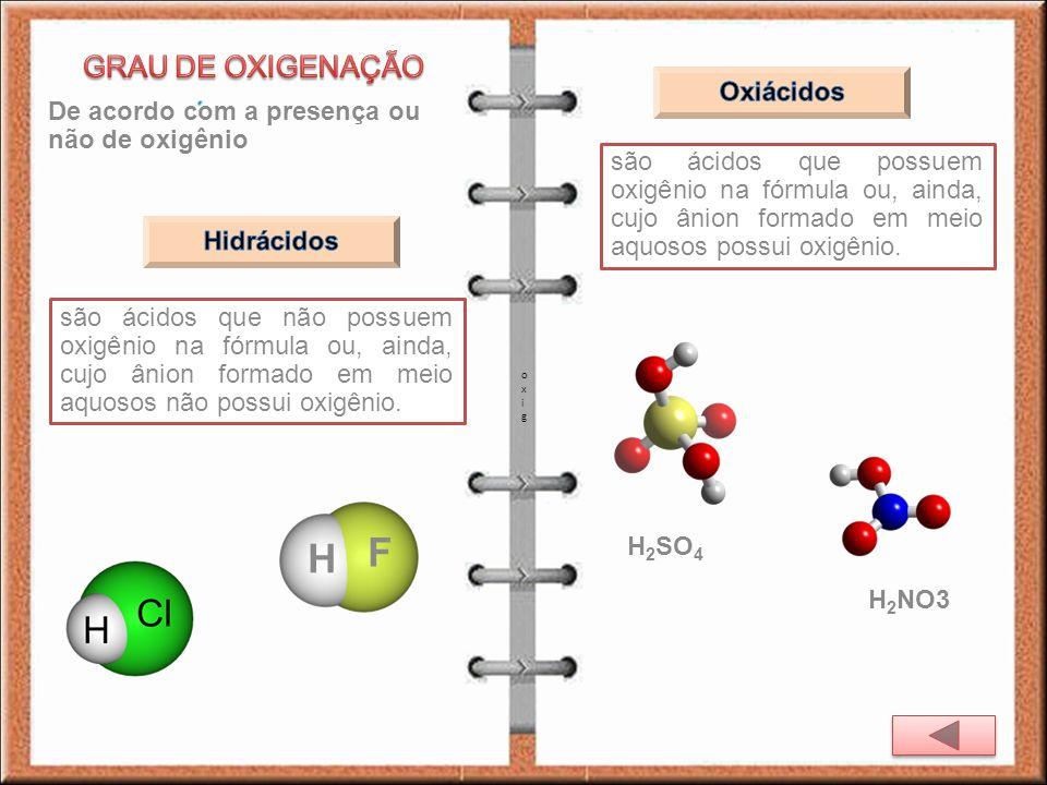 De acordo com a presença ou não de oxigênio são ácidos que não possuem oxigênio na fórmula ou, ainda, cujo ânion formado em meio aquosos não possui ox