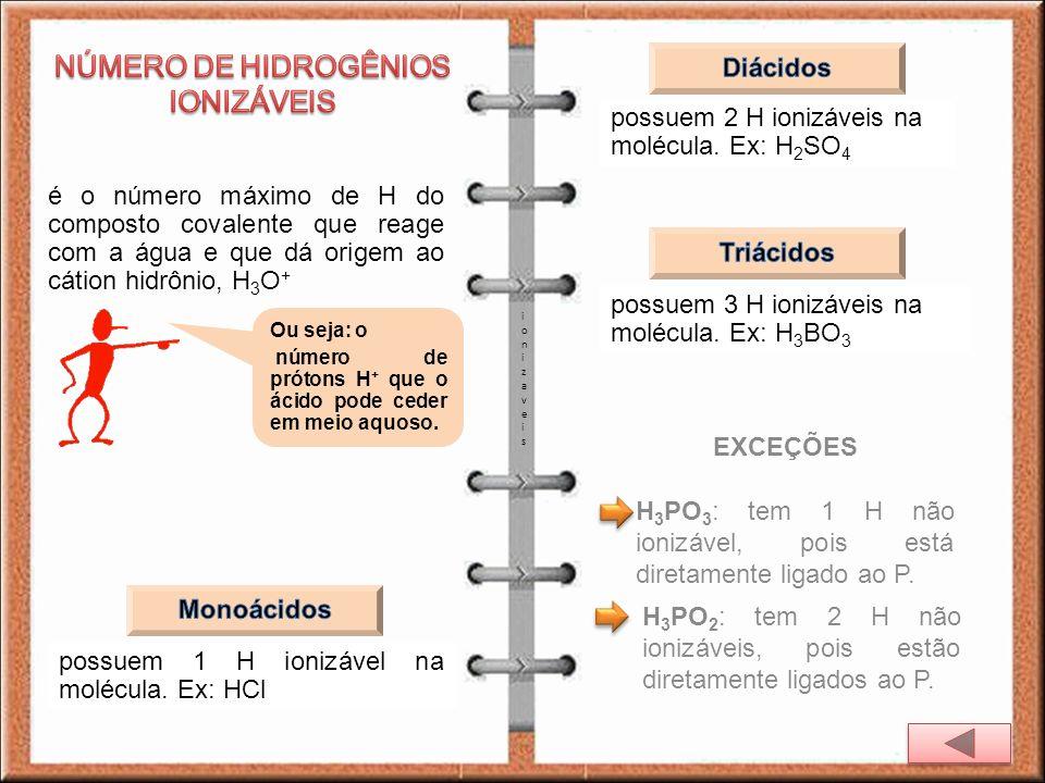 é o número máximo de H do composto covalente que reage com a água e que dá origem ao cátion hidrônio, H 3 O + ionizaveisionizaveis possuem 1 H ionizáv